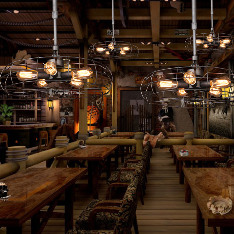 Nordic american country fan chandelier vintage industrial - Mobiliario industrial vintage ...