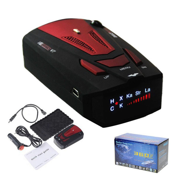 by DHL or EMS 20 pieces 100% New Model Car Radar Detectors V7 for Car Speed Testing with 360 Degrees signals + Russian & English(China (Mainland))
