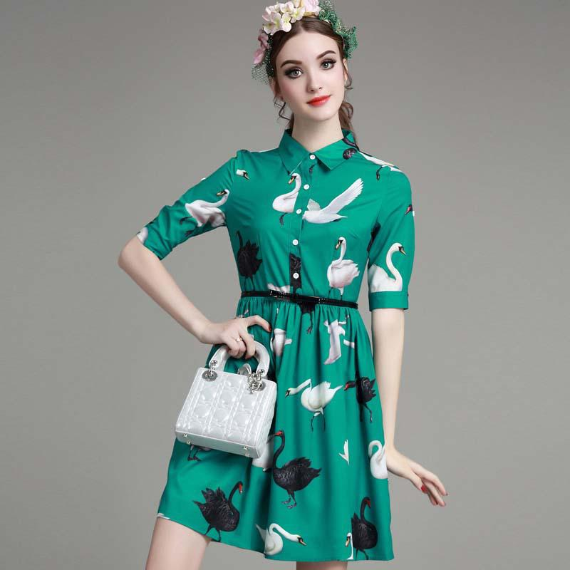 women bandage dress spring and summer style swan print green dresses 2016 new arrival hot sale fashion clothes vestidos de festa(China (Mainland))