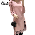 New Autumn Winter Slim Vestidos Long sleeved Lace Dress Suede Pink Dress Women Round Neck Dresses