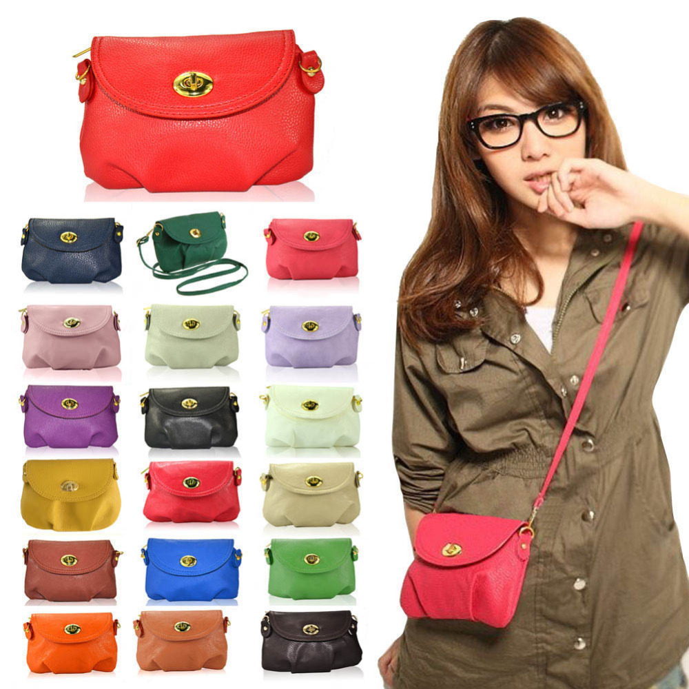 New Fashion Women's Cute Wallets Crossbody Retro Small Bags Solid PU Leather Bag(China (Mainland))