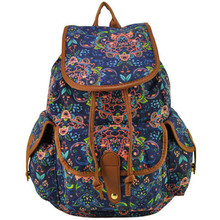ZIWI Brand New Arrival Promotion Beauty Flower Canvas Backpack Fashion School Travel Ethnic Rucksack Classic Knapsack SY0407(China (Mainland))