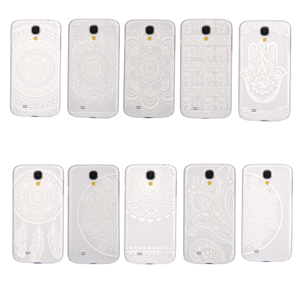 Luxury Clear Plastic Phone Shell White Floral Paisley Flower Mandala Dream Catcher Case Cover Samsung Galaxy S4 i9500 i9505 - Perfect boy store