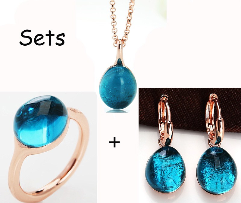 2016 fashion jewelry Rose Gold Plated blue crystal ring Earrings Necklace sets women Gift S01