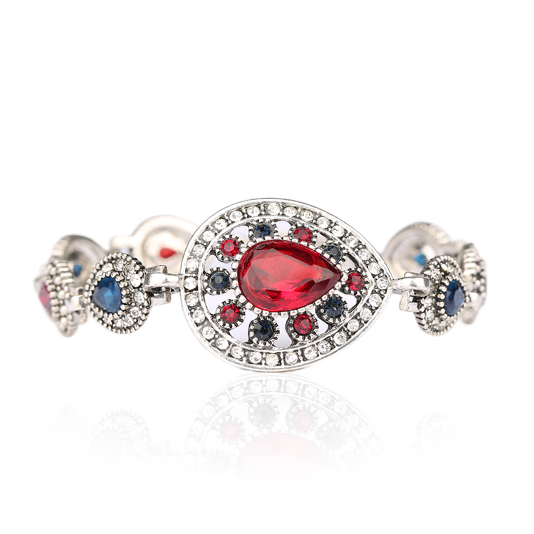 Luxury Indian Jewelry 925 Sterling Silver Ruby Bracelets For Women Vintage Look Hollow Out Water Drop White Crystal party Gift(China (Mainland))