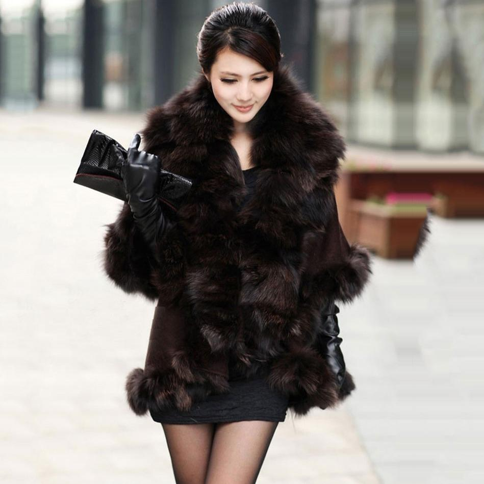 New arrival Fashion Brand Design Luxury big Plus size knitted Genuine real fox fur shawl and scarves cashmere Wedding caps wraps(China (Mainland))