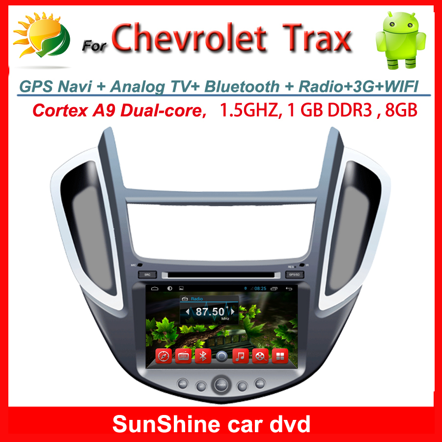 Prue android 4.4 2 din car stereo for Chevrolet Trax dvd radio TV GPS Navigation 3G WIFI AUX touch screen multimedia player(China (Mainland))