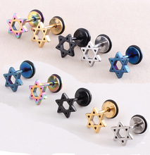 new arrival six star star men earrings boucle d oreille boucles d'oreilles stud earrings kolczyki hombre ohrringe(China (Mainland))