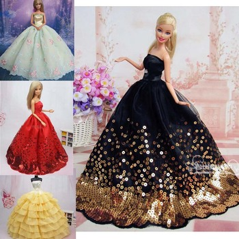 free shipping new year christmas gift luxurious wedding dress for barbie doll