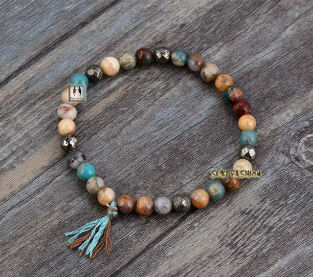 Natural Stones Pyrite Tel Stretch Bracelets Boho Elastic Bracelet Handmade Mala Bead Yoga Jewelry Dropshipping In Strand From