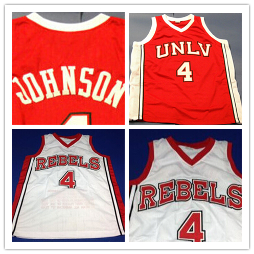 #4 Larry Johnson Unlv Runnin Rebels Stat 90 Basketball Jersey Red White, Custom any Size Name and Number Stitched NEW Material(China (Mainland))