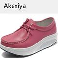 Akexiya Autumn Genuine Leather Waterproof Casual Shoes For Woman 2017 Female Wedge High Heel Swing Shoes