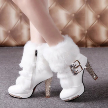 Super High(8cm-up) 2017 White Winter Fur Boots Women Plush Warm Platform High Heels Ankle Boots Crystal Womens Leather Heel Boot(China (Mainland))