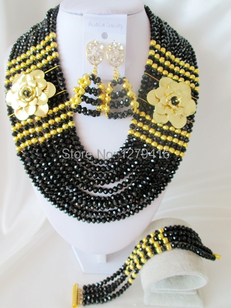 Best Sale  Black  Crystal Nigerian Wedding African Beads Jewelry Set AB043<br><br>Aliexpress