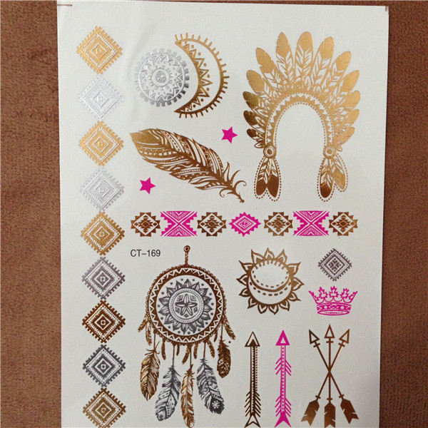 New Silver Body Art Flash Tattoos Indian Sexy Metallic Gold Tattoo Temporary Waterproof Tatoos Sticker(China (Mainland))
