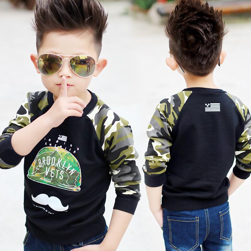 Children's clothing 100% cotton sweatshirt 2015 boys spring and autumn child cartoon t-shirt Camouflage long-sleeve top basic(China (Mainland))