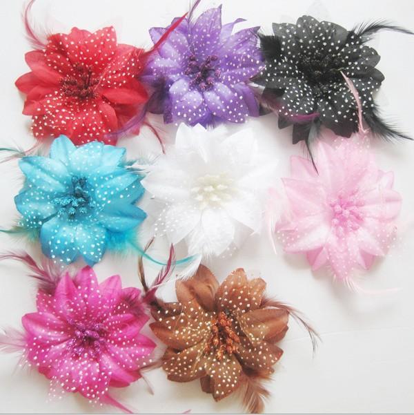 Free Shipping mix color 4'' Chiffon Flowers DIY Fabric Flower Baby Headband Girl's Hair Accessories Handmade Flower FFCD09014(China (Mainland))