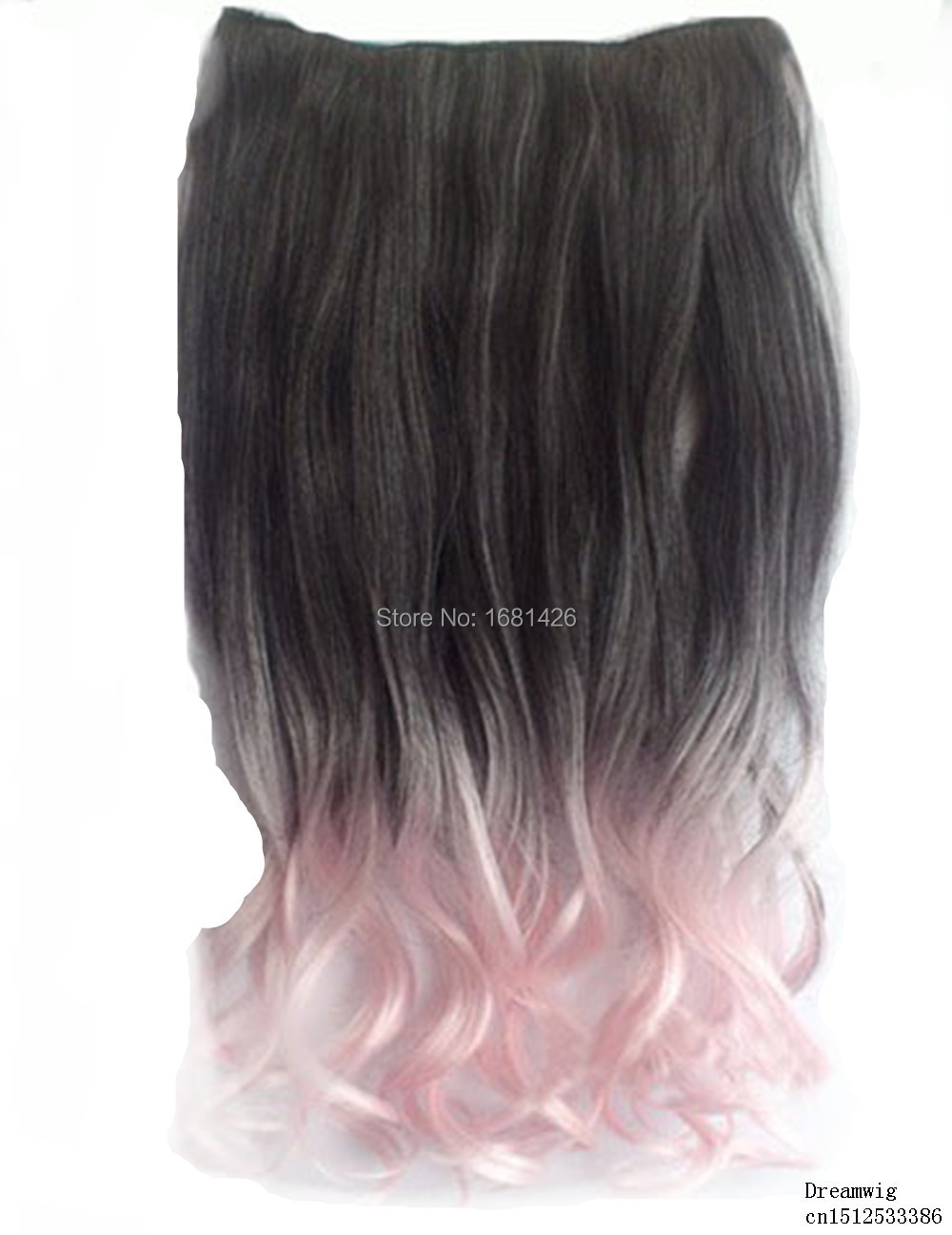 Dreamwig 24 Inch Black to Cherry Pink Color Ombre Curly Curl Wavy Full Head Clip in Hair Extensions(China (Mainland))