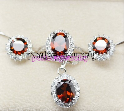 Garnet set Free shipping Natural real garned 1pc pendant 1pair stud earring 1pc ring 925 sterling silver Fine red gems(China (Mainland))