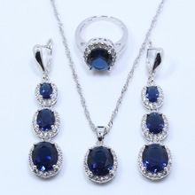 925 Sterling Silver Overlay Flawless Blue Sapphire Jewelry Sets For Women Long Earring Necklace Pendant Ring Free Gift Box T20(China (Mainland))