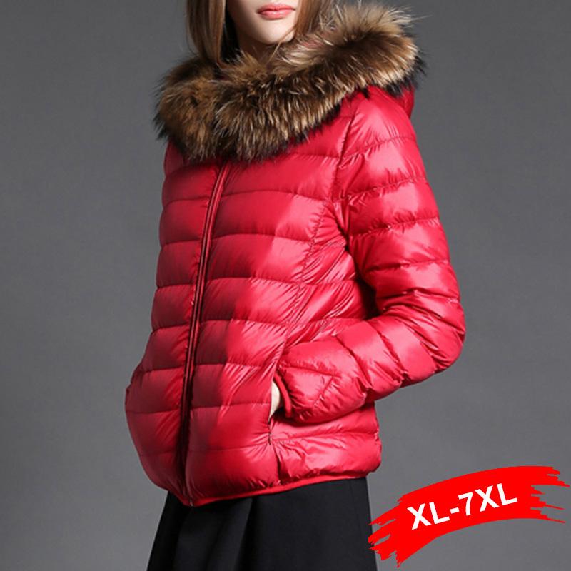 Winter Warm Plus Size White Dark Down Short Coat Hooded Duck Down Jacket 4XL 6XL 7XL Women Down Parkas Thick Warm Dames Jassen(China (Mainland))