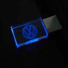 Pendrive Crystal Volkswagen VW car Logo 4GB 8GB 16GB 32GB Custom USB Flash Drive usb 2.0 Flash Disk Stick Pen Drive gift box(China (Mainland))
