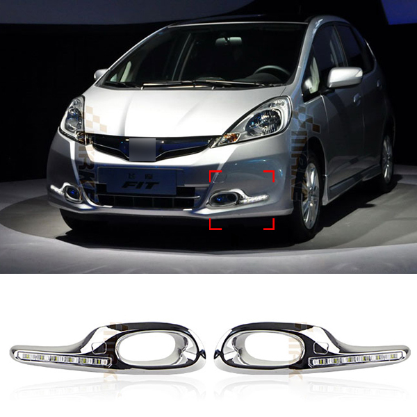 6 LED Car Styling DRL For HONDA 2011-2013 FIT Jazz Hybrid Daytime running lights With Dimmer Function High quality Free shipping(China (Mainland))