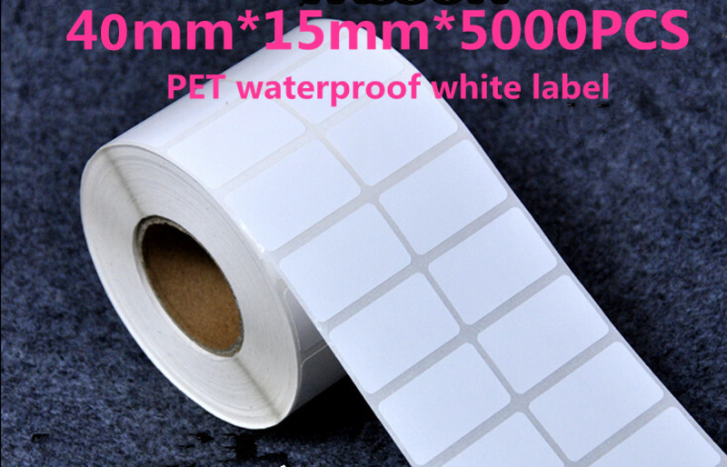 Factory wholesale 40 * 15mm * 5000Pcs white PET waterproof custom stickers handmade label barcode blank paper tags(China (Mainland))