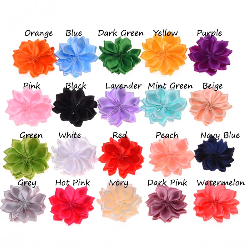 20PCS 4CM Artificial Flower Satin Flowers DIY Flower Bouquet for Hair Accessories Rosette Pointed Flower No Hair Clips(China (Mainland))