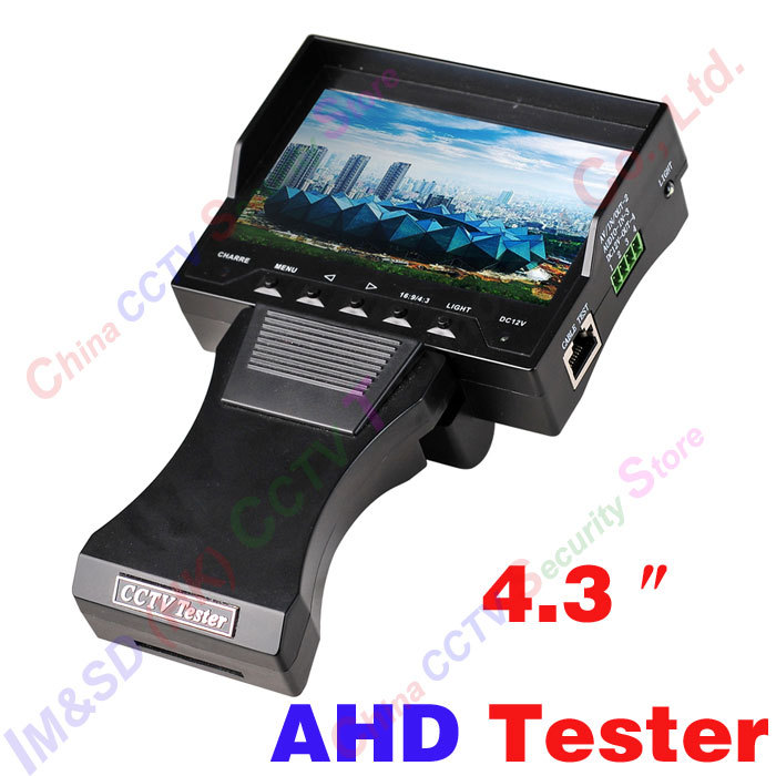 CCTV Camera AHD Tester 4.3TFT Color LCD Portable AHD with built-in lithium battery, video input, audio input DC12V power supply<br><br>Aliexpress