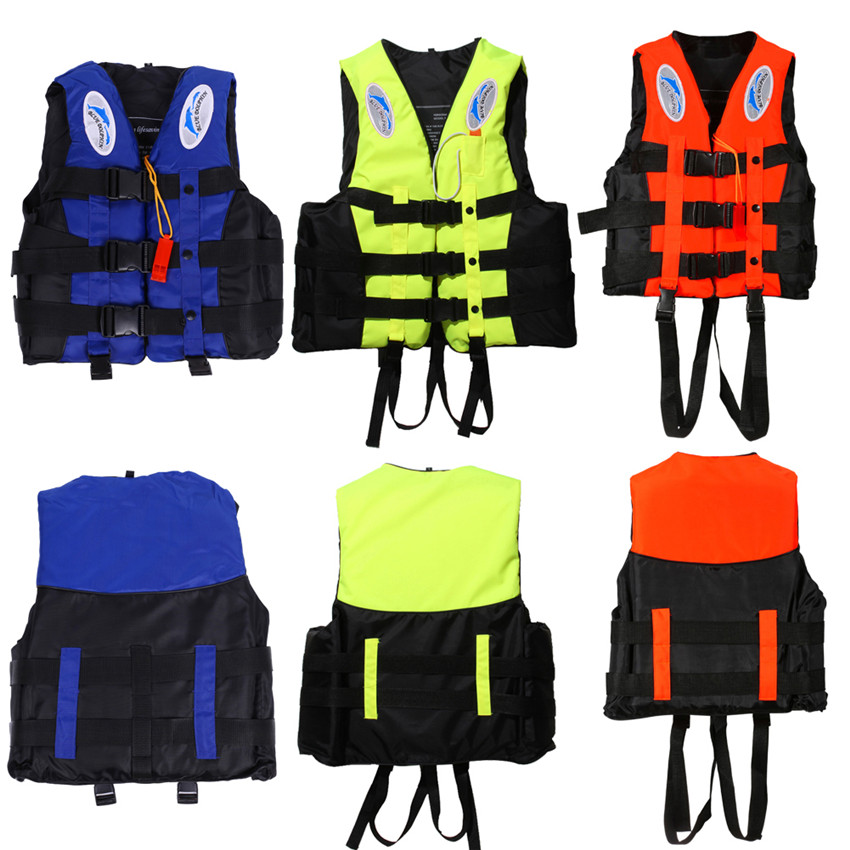 6 Sizes Professional Swimwear Polyester Adult Life Jacket Foam Vest Survival Suit with Whistle for Swimming Drifting Surfing(China (Mainland))