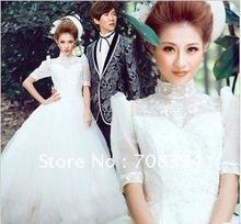 Royal Princess Lace Short Sleeves Ball Gown Wedding Dress(China (Mainland))