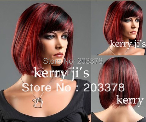 Latest Short BOB Hairstyle Red and Black mixed Synthetic Hair Wig for women / lady 10pcs/lot mix order