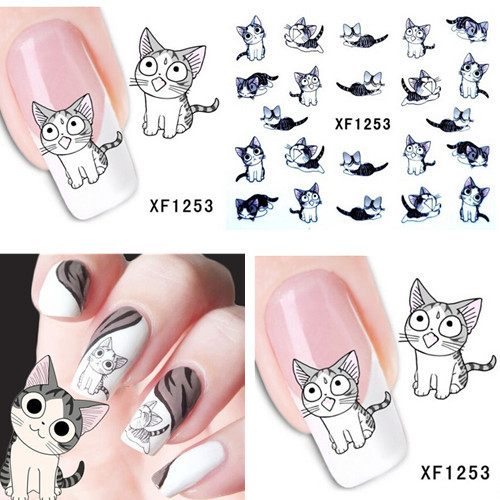 1 sheet New Water Transfer Nail Art Stickers Decal Cute Cats Black White Grey Design Decorative Foils Stamping Tools #XF1253(China (Mainland))