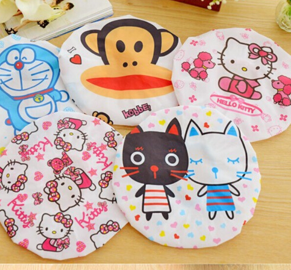 Cute Cartoon Hello Kitty Shower Cap Waterproof Shower Cap Environmental Protection Lace Elastic Band Hat Bath Cap(China (Mainland))