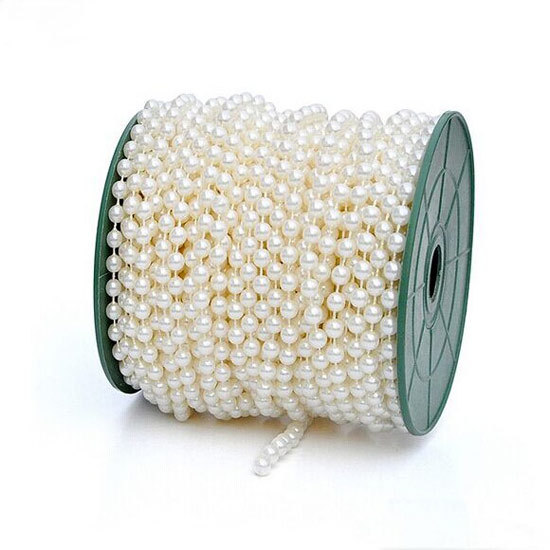 5 Meters Length 4 Color 6MM Artificial Pearls Bead Garland Spool Rope Wedding Party Prom Home Hanging Decoration - MCCYY WEDDING store