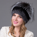 2016 new brand causal good quality cap Winter Rex rabbit fur hat for women with fox