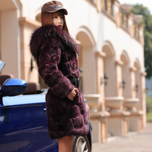 2015 New Low!Fur coat women'slong  rabbit fur coat with large fur hat Free shipping  TF0268(China (Mainland))