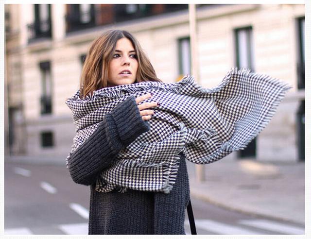 Женский кондиционер большой мыс двойной черный и белый хаундстут шарф сверхбольших пряжи женский длинный толстый