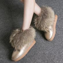 Giày Bốt Nữ Da Thật Chính Hãng Da Thật Cáo Lông Thú Thương Hiệu Mùa Đông Giày Ấm Đen Mũi Tròn Cổ Plus Size Nữ Ủng de(China)