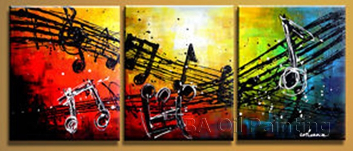 Free shipping handpainted 3 piece modern abstract oil painting on canvas wall art music pictures for living room as unique gift