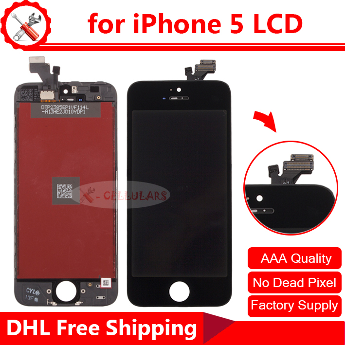 Black & White 100% Tested New Display LCD For iPhone 5 LCD Digitizer, Free Delivery(China (Mainland))