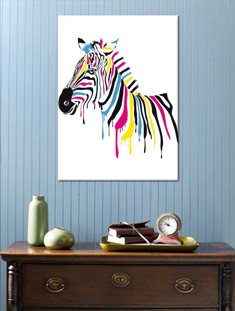 store product Modern new idea design Colorful zebra canvas print painting wall art picture