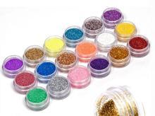 High Quality 2 sets 18Colors Nail Art acrylic Glitter Nail Art Tool Kit Acrylic UV Powder Dust gem Polish Nail Tools Nail Art(China (Mainland))