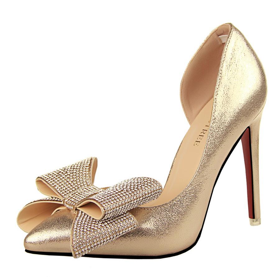 gold bow heels is heel. Black Bedroom Furniture Sets. Home Design Ideas