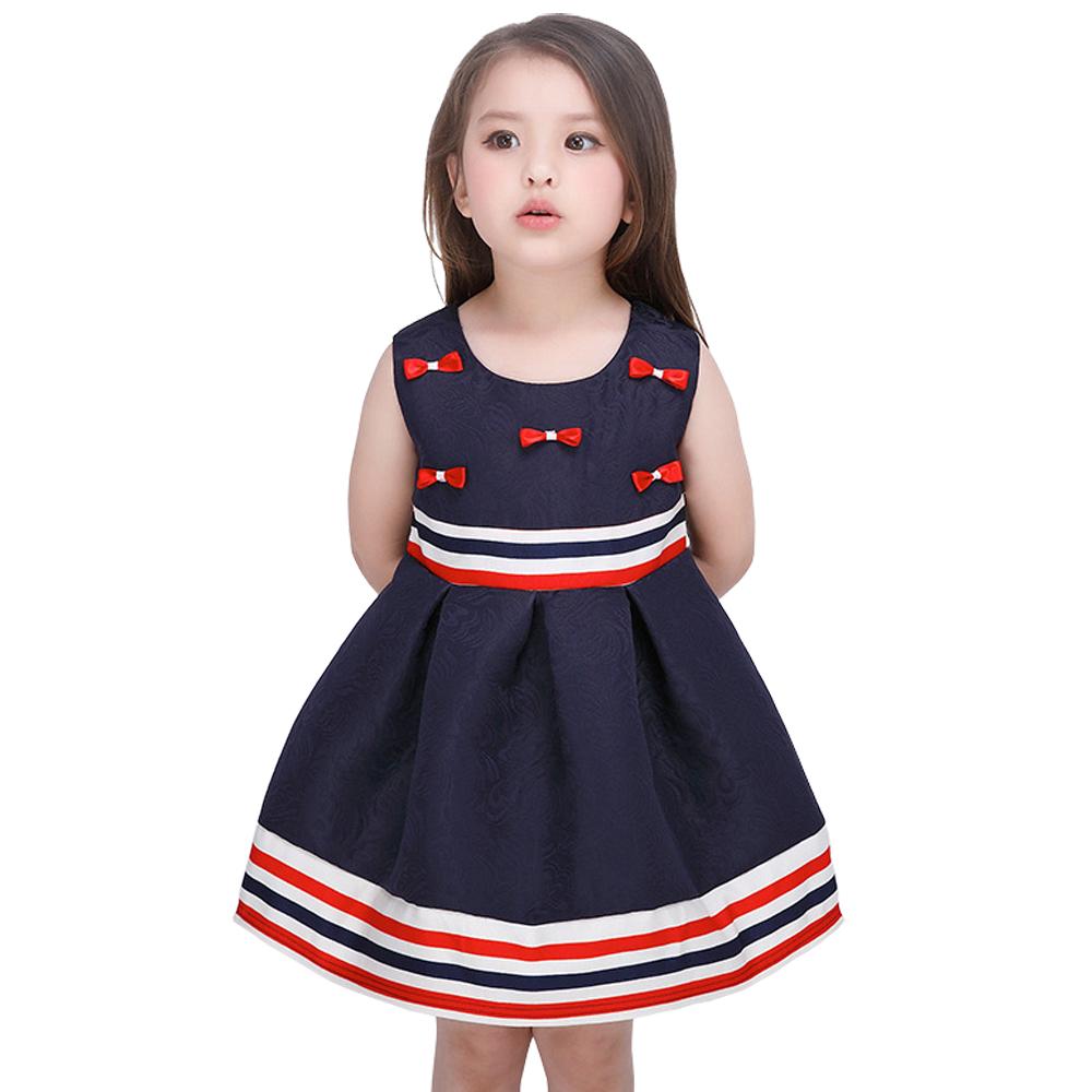 New 2016 Girl Dress Jacquard Striped Dress Spring Summer Girls Clothes Bow decoration Sleeveless Dresses TuTu Kids Clothes D3J37(China (Mainland))