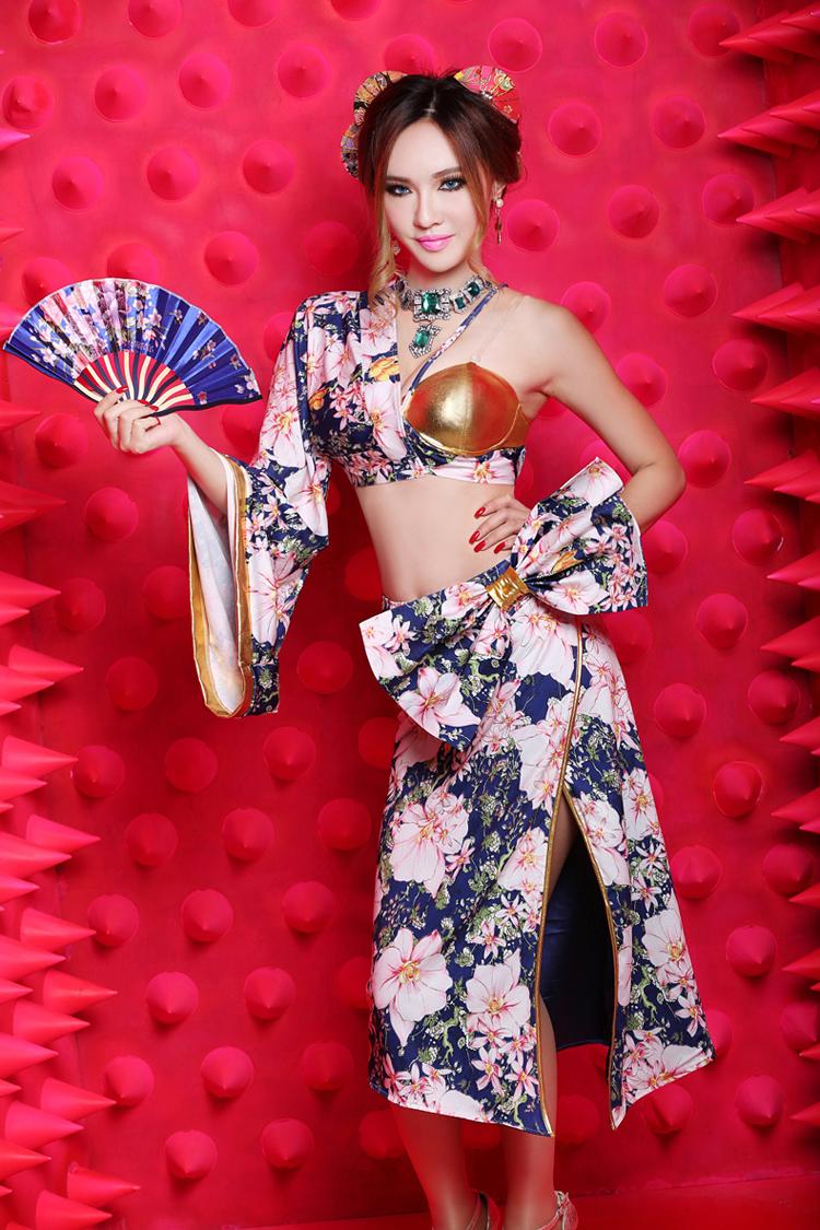 New sexy retro print geisha kimono collar DS dance costume dress uniform temptation nightclub clothingОдежда и ак�е��уары<br><br><br>Aliexpress