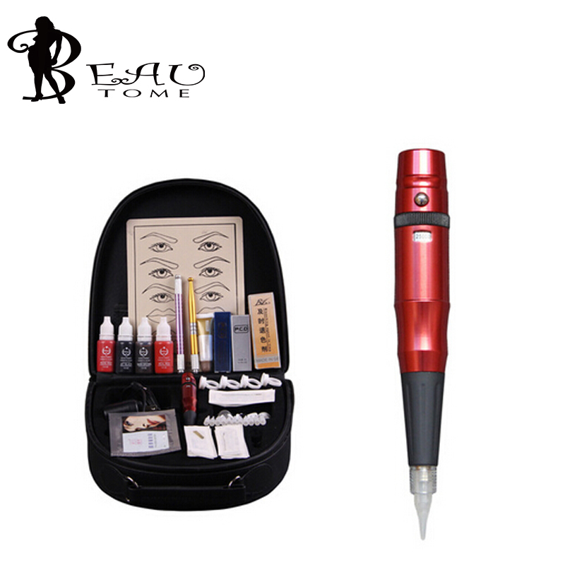 Beautome 2016 Permanent Makeup Pen Tattoo Eyebrow Lips Cosmetic Machine Kits Needles Tips Ink Permanent Tattooing For Adult Red(China (Mainland))