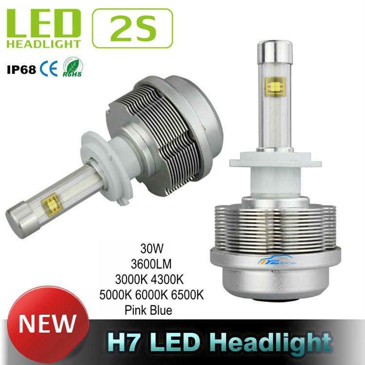 Generation 2S LED Car Headlight CREE ETI Flip Chips 12V Car LED Headlight 30W 3600LM Aluminum H7 LED Headlight conversion Kit