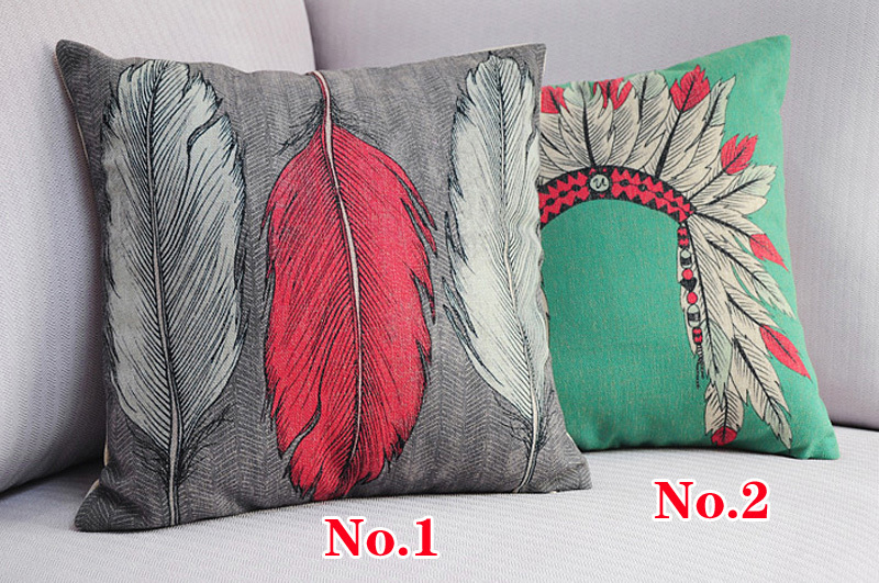 Indiana Tiara And Feather Pattern Cushions 2pcs Vintage Style Pillows Decorate Sofa Cushion Cover Free shipping(China (Mainland))